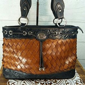 American West Woven Leather Purse